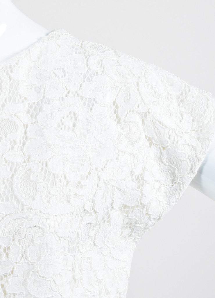 White Saint Laurent Cotton Guipure Lace Cap Sleeve Shift Dress Detail