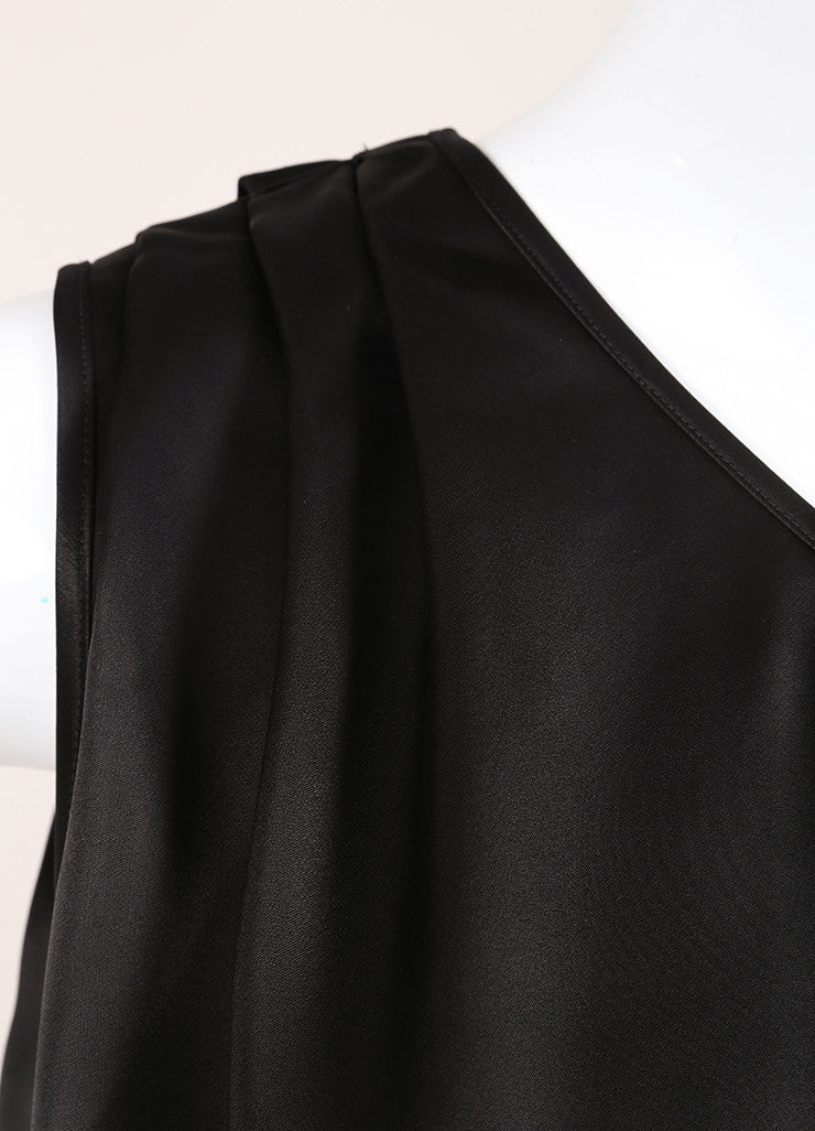 Stella McCartney Black Satin Pleated One Shoulder Tunic Dress Detail