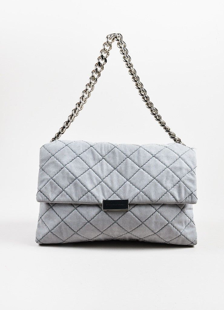 "Stella McCartney Grey Faux Suede Quilted Medium ""Beckett"" Flap Bag Frontview"