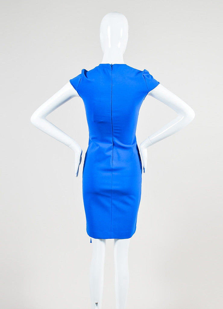 Blue Stella McCartney Stretch Asymmetric Cap Sleeve Dress Backview