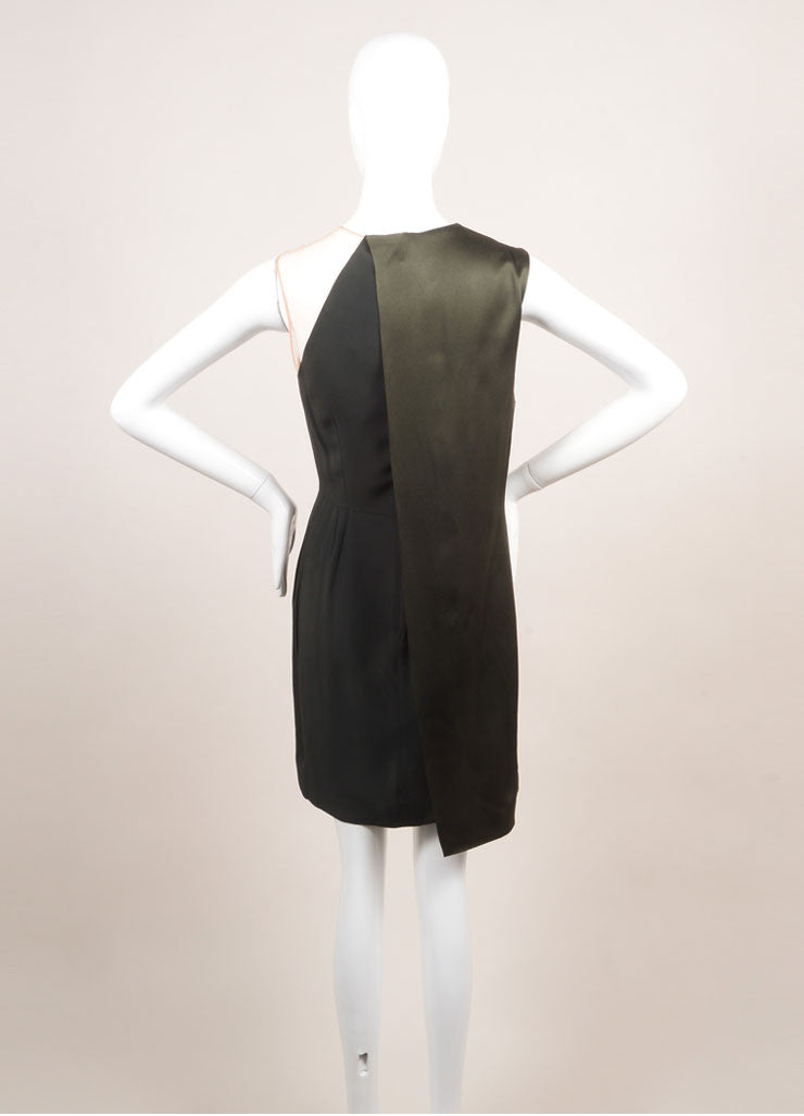Stella McCartney New With Tags Green Draped Mesh Shoulder Sleeveless Dress Backview