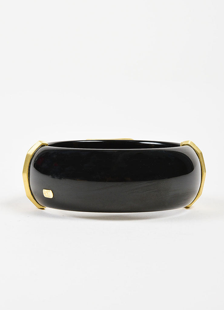 Susan Sadler 18K Gold, Black Bakelite, Rutilated Quartz, and Diamond Bangle Backview