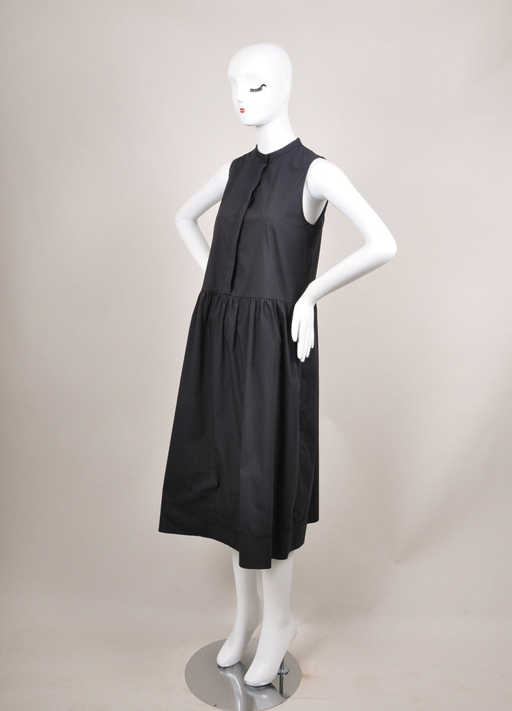 "The Row New With Tags Navy Cotton Poplin Sleeveless Drop Waist ""Ursa"" Dress Sideview"