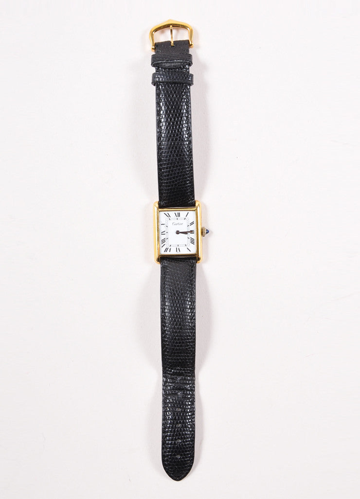 "Cartier 18K Gold Plated and Black Leather Strap ""Tank"" Automatic Watch Frontview"