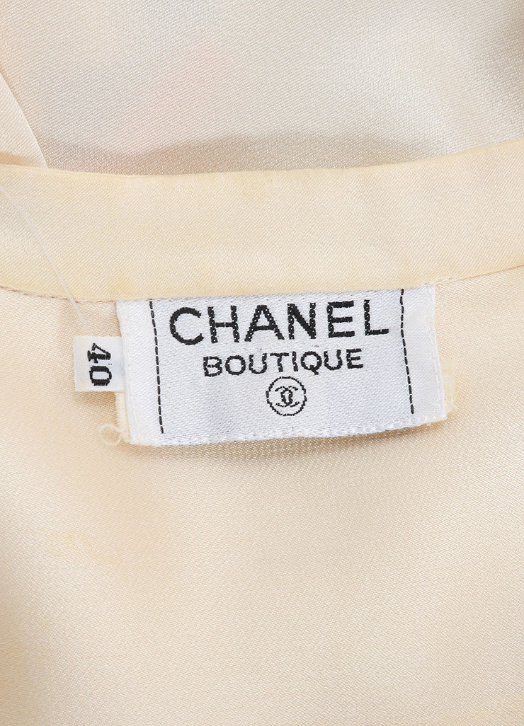 Chanel Cream Silk Satin Button Up Double Breasted Blouse Brand
