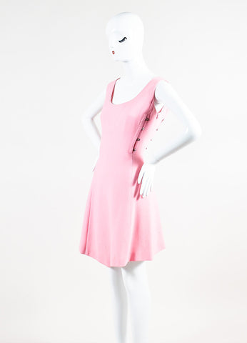 Vintage Light Pink Gianni Versace Crepe Knit Sleeveless A-Line Dress Sideview