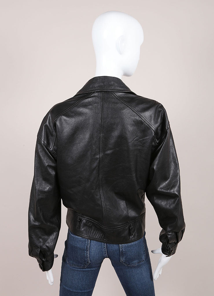 Gucci Black Leather Double Breasted Jacket Backview