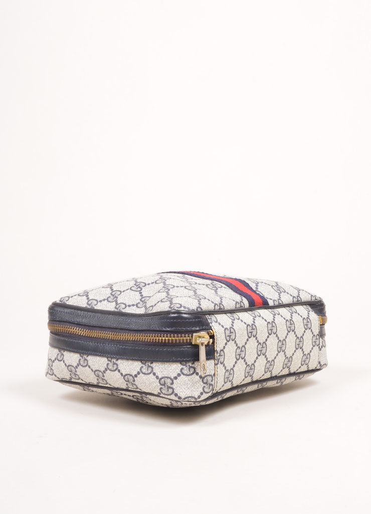 "Gucci Cream, Navy, and Red Coated Canvas Monogram ""GG"" Cosmetic Bag Bottom View"