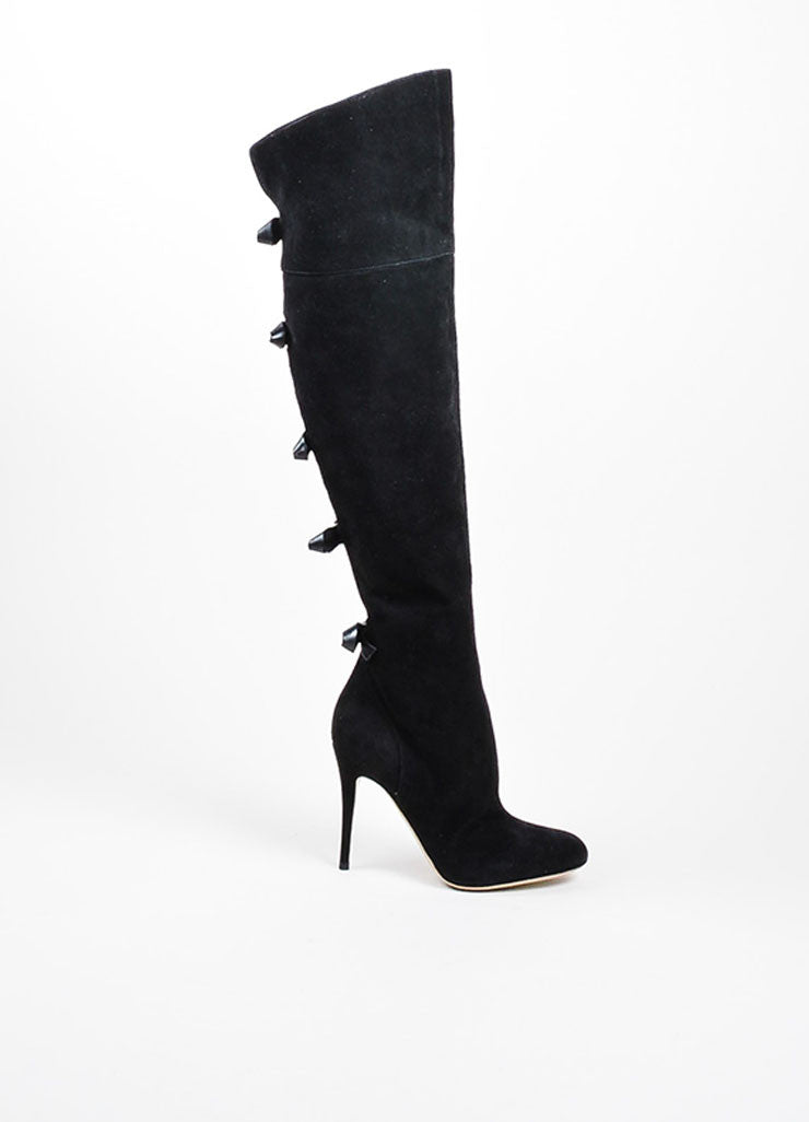 Valentino Black Leather Bow Over The Knee High Heel Boots Sideview
