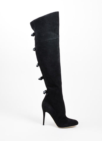 Black Valentino Suede Leather Bow Over The Knee High Heel Boots Sideview