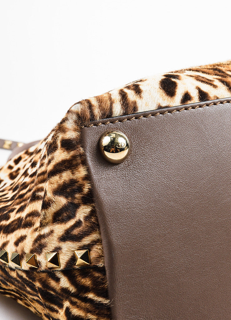 Valentino Brown, Tan, and Gold Leopard Print Pony Hair Rocktstud Handbag Detail
