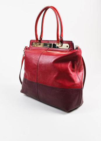 "Valentino Red and Burgundy Leather ""Claret"" Colorblock Tote Bag Sideview"