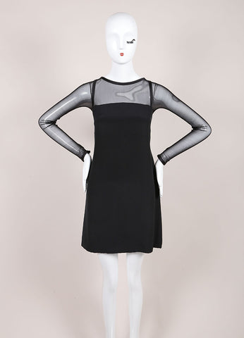 Vera Wang Black Woven Mesh Trim Long Sleeve Shift Dress Frontview