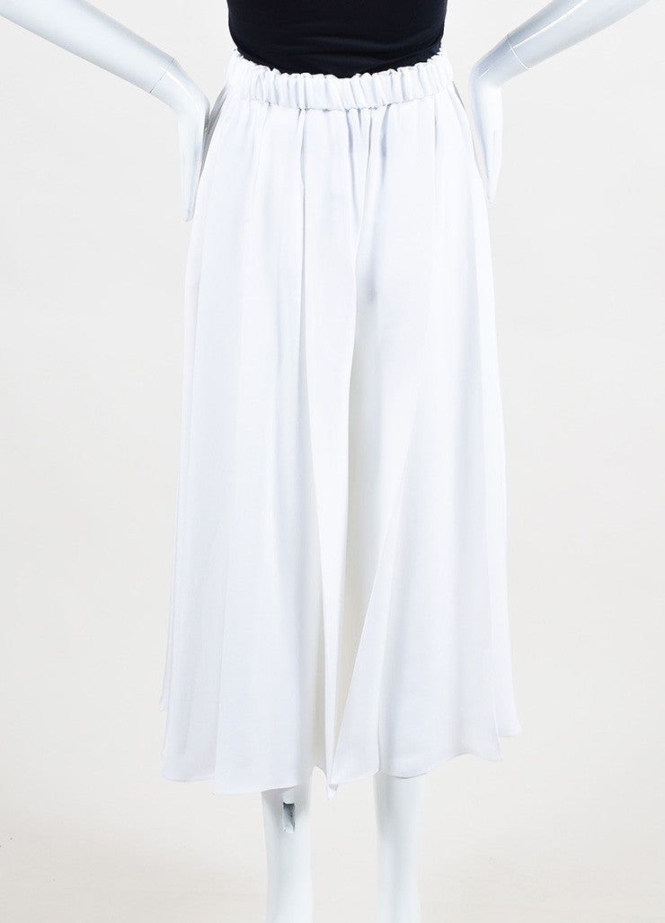 White Victoria Beckham Silk Crepe Pleated Culottes Back
