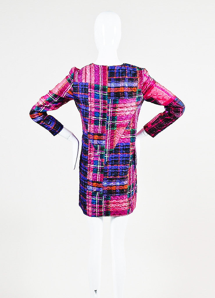 Victoria Victoria Beckham Multicolor Plaid Crinkle Shift Dress Backview