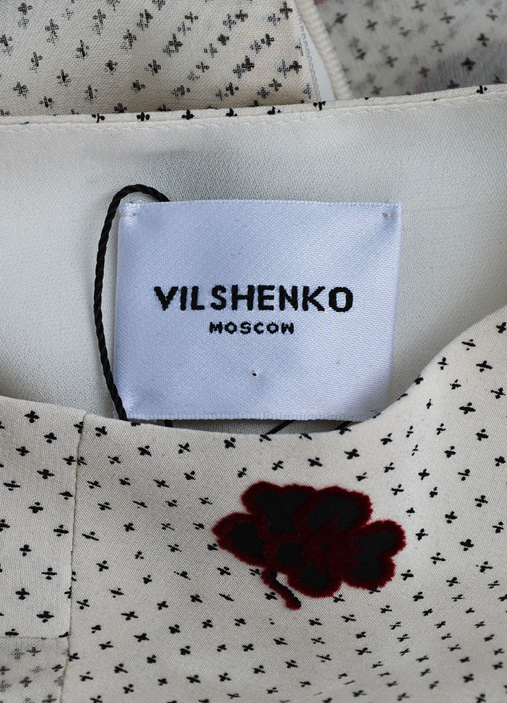 "White, Black, and Red Vilshenko Silk Ruffle ""Crosses Flowers"" Dress Brand"
