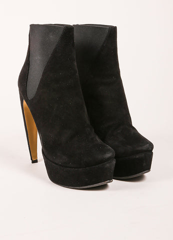 "Walter Steiger Black Suede Leather ""Oscar"" Curve Heel Ankle Boots Frontview"