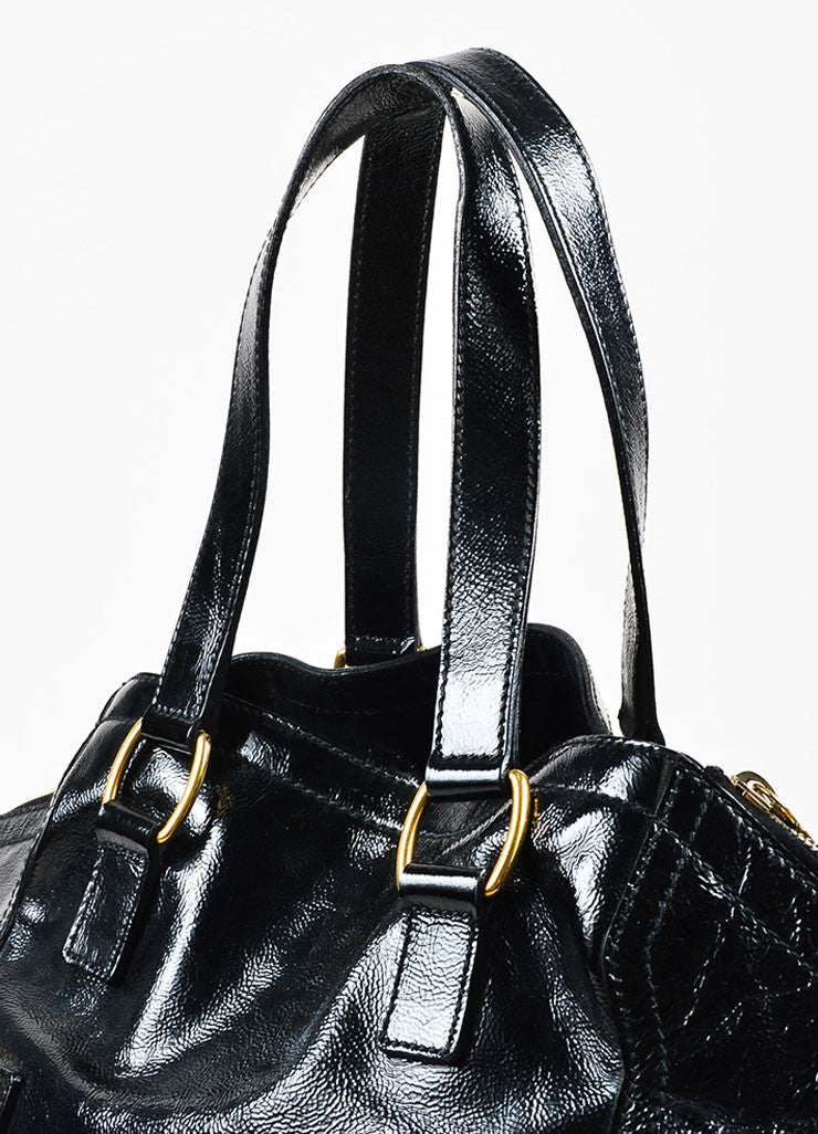 "Yves Saint Laurent Black Leather Stud and Zip Detail ""Medium Downtown"" Tote Detail 2"