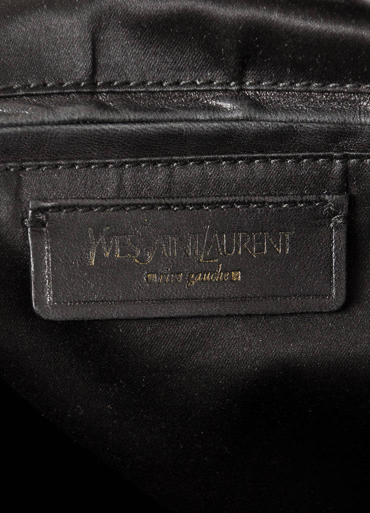 "Yves Saint Laurent Black and Gold Toned Patent Leather Oversized ""Muse"" Bag Brand"