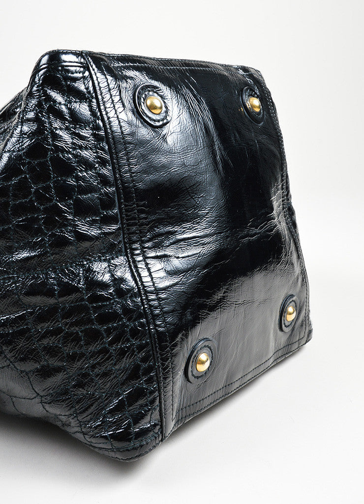 "Black Yves Saint Laurent Patent Leather Quilted Crocodile ""Downtown"" Tote Bag Bottom View"