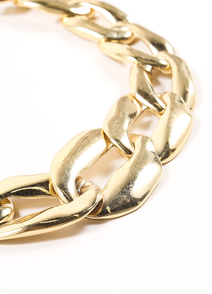 Yves Saint Laurent Gold Toned Chain Oversized Oval Link Necklace Detail