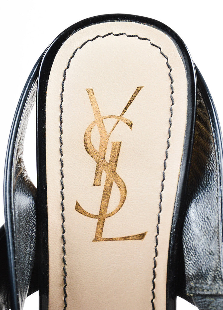 Yves Saint Laurent Rive Gauche Black and Beige Leather and Wood Chunky Sandals Brand