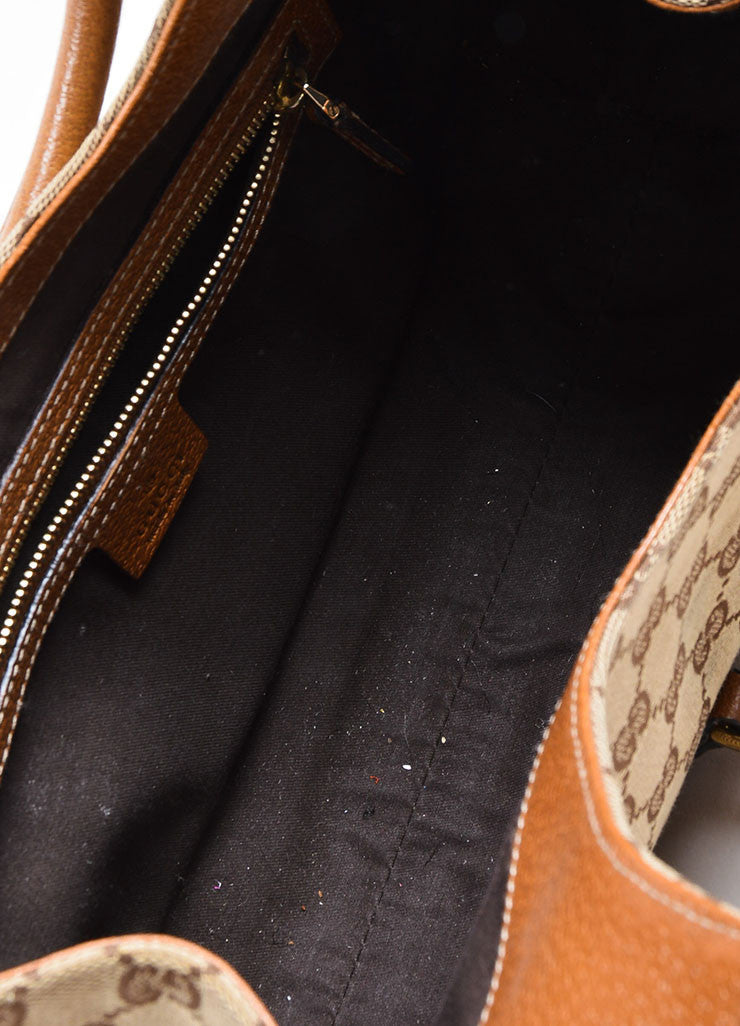 "Tan Gucci Monogram Canvas ""Nailhead Bardot"" Bag Interior"