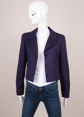 Chanel Black and Purple Wool and Silk Long Sleeve Jacket Frontview