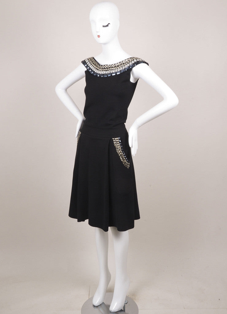 Temperley of London Black Silk Blend Embellished Pleated Dress Sideview