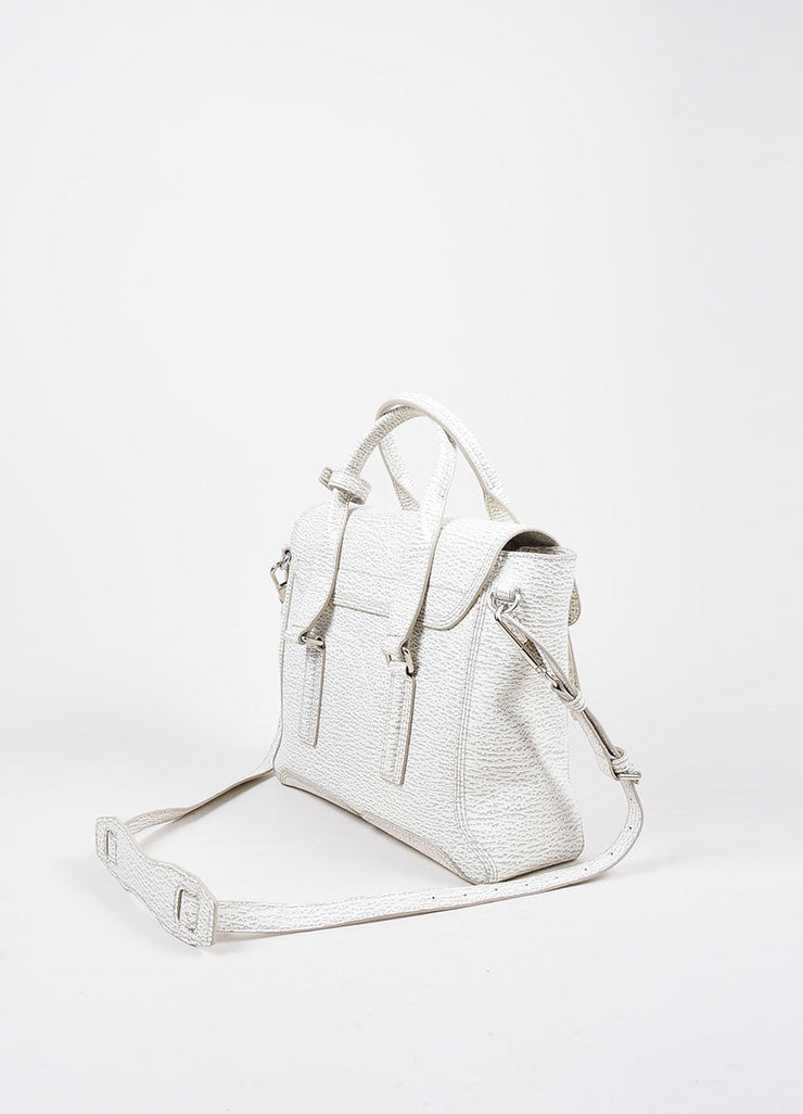 "3.1 Phillip Lim Cream and Grey Textured Leather Medium ""Pashli"" Satchel Bag Sideview"