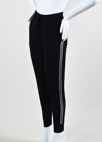 360Cashmere Black and Grey Cashmere Knit Drawstring Jogger Pants Sideview