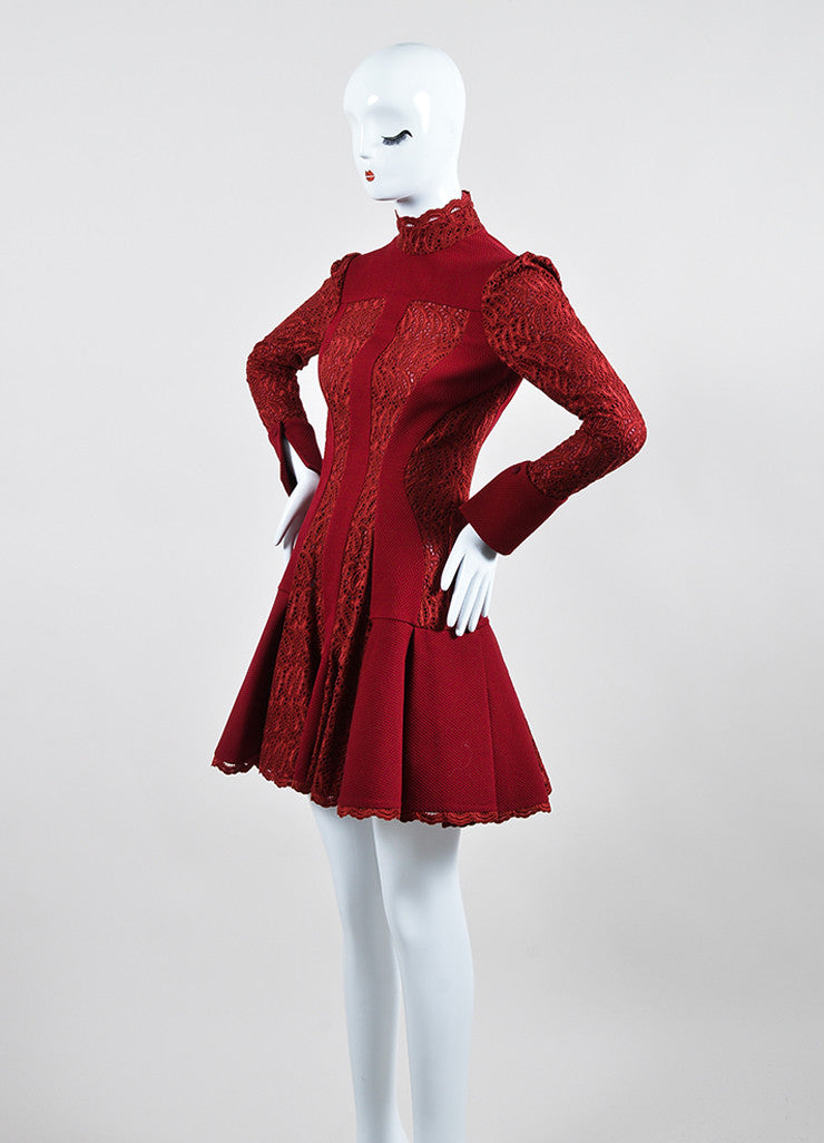 Burgundy Alexander McQueen Wool Blend Lace Paneled Pleated Dress Sideview