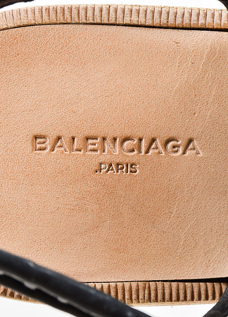 Black Balenciaga Woven Leather Lace Up Flat Sandals Brand