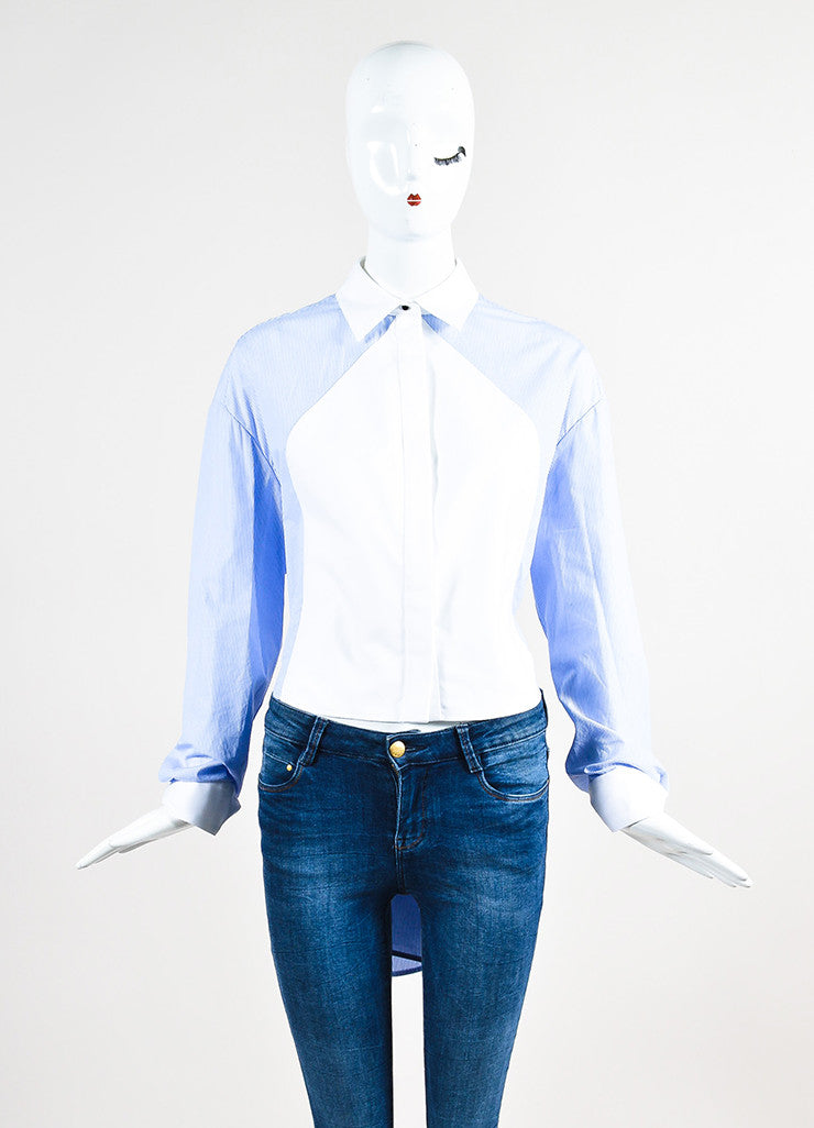 Balenciaga Blue and White Striped Oversized High Low Button Down Shirt Frontview