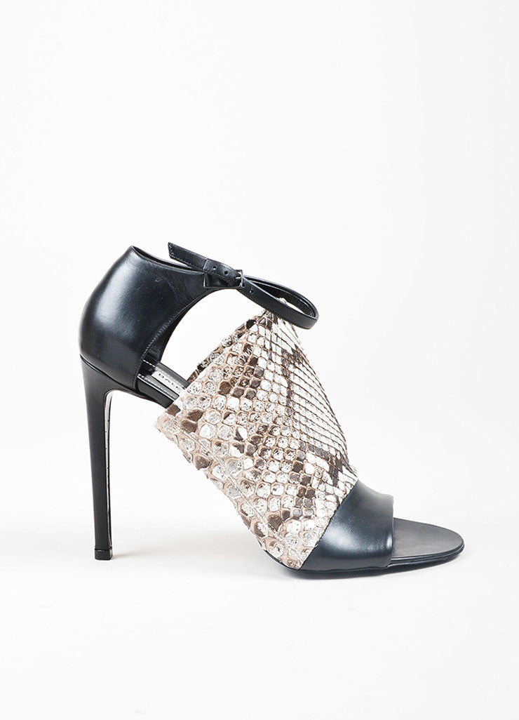 Black, White, and Brown Balenciaga Snake Leather Wrap Heel Sandals Sideview