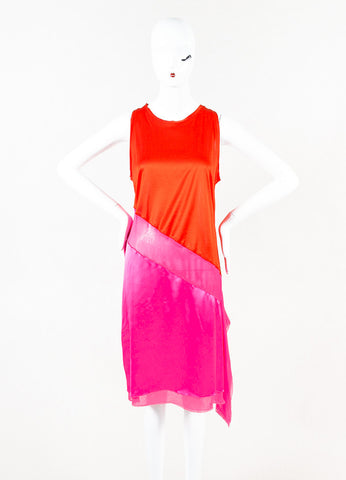 Bottega Veneta Hot Pink Red Silk Blend Asymmetrical Color Block Dress Front