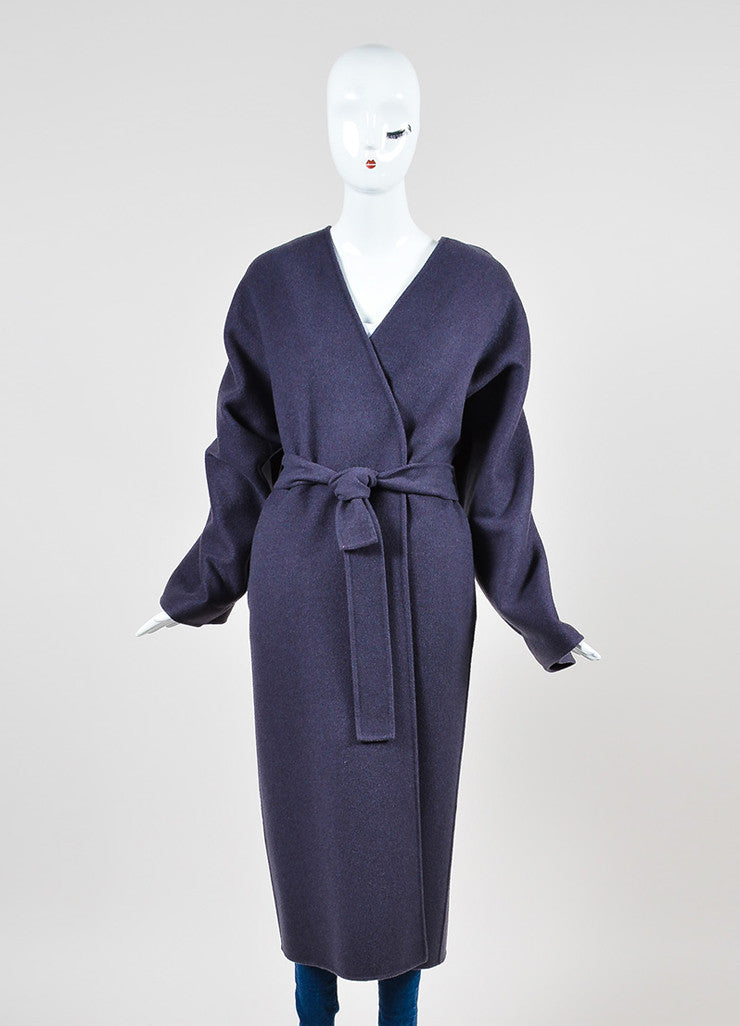 Purple Bottega Veneta Cashmere Collarless Belted Oversized Maxi Cardigan Frontview