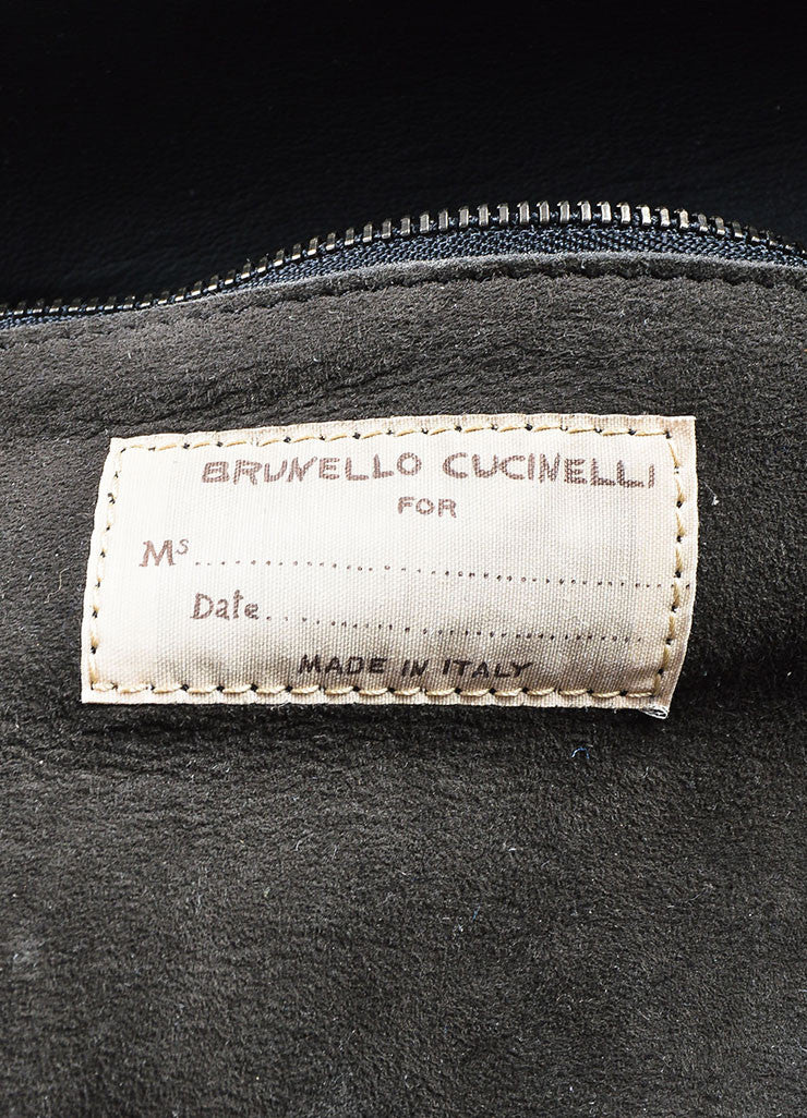 Brunello Cucinelli Grey Cashmere and Leather Monili Bonded Flower East-West Tote Bag Brand