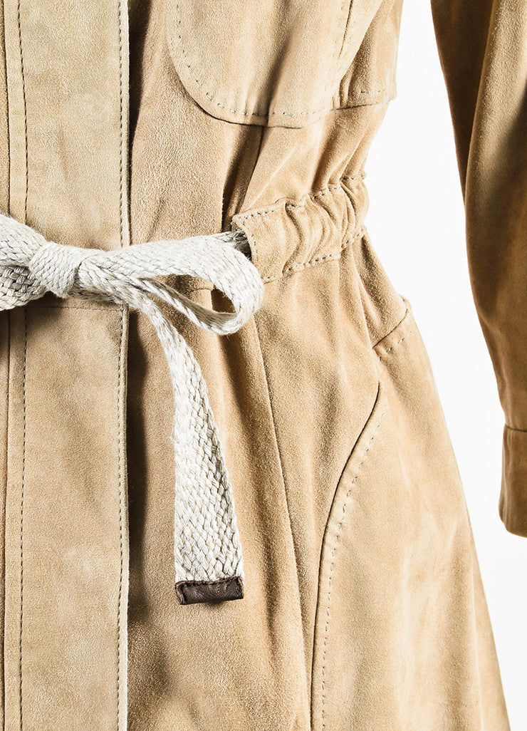 Brunello Cucinelli Tan Suede Drawstring Rope Belted Zip Front Jacket Detail