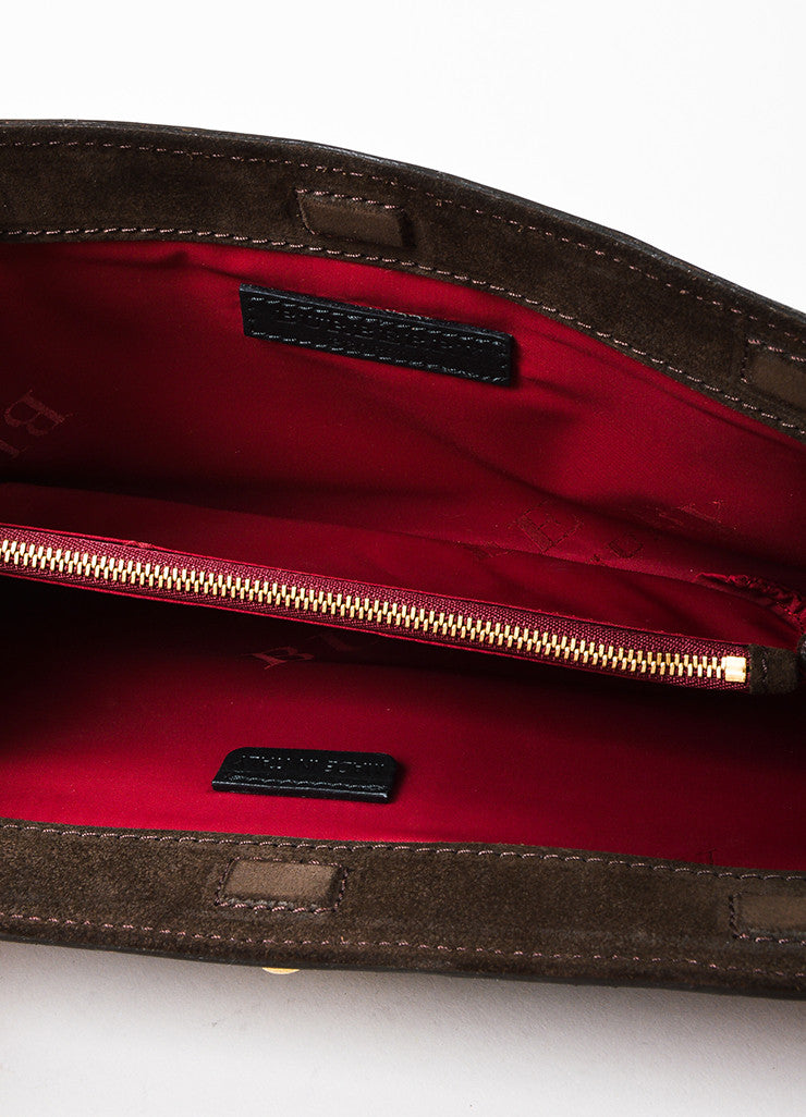 Burberry Prorsum Purple and Brown Canvas and Leather Buckle Clutch Bag Interior