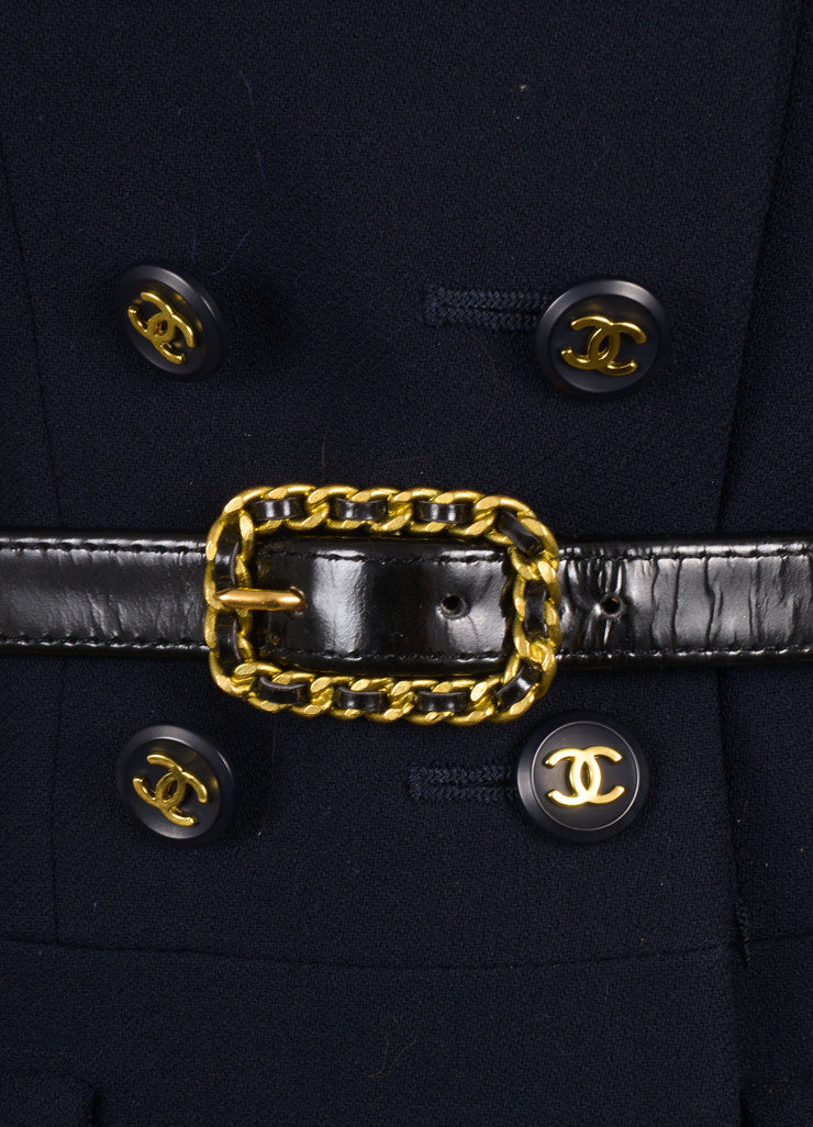 Chanel Navy Double Breasted Belted Jacket Detail