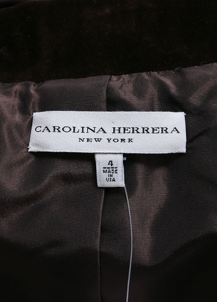 Carolina Herrera Black and Brown Velvet Collar Peplum Blazer Brand