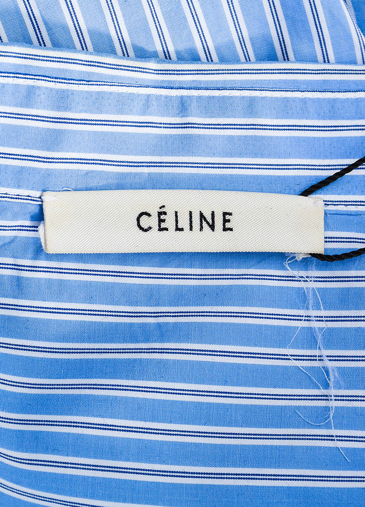 •ÈÀCeline Blue White Cotton Striped Oversized Button Down Long Sleeve Shirt Brand