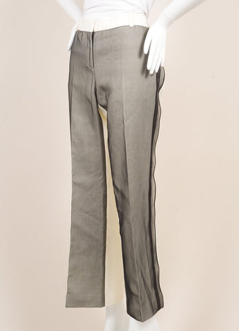 Celine White and Black Silk Sheer Overlay Wide Leg Trousers Sideview
