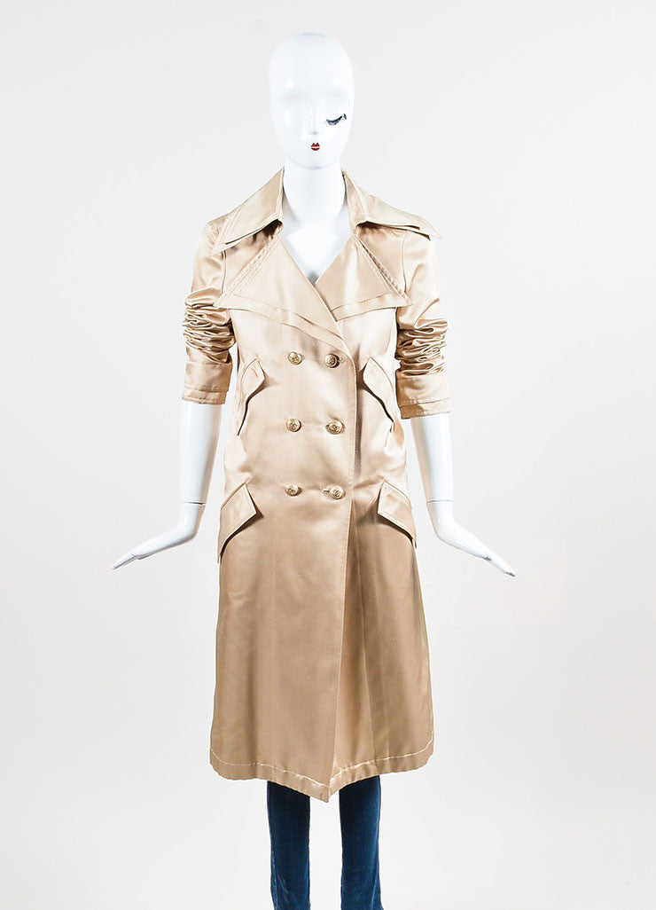 Nude Tan Chanel Silk Twill Double Breasted Trench Coat Frontview 2