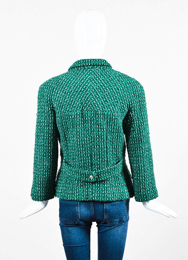 Green and White Chanel Tweed 'CC' Button Jacket Backview