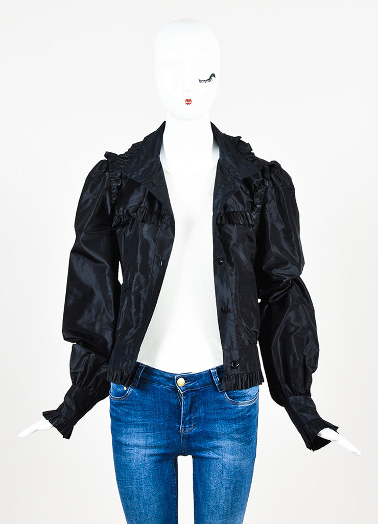 Chanel Black Silk Taffeta Ruffle 'CC' Button Lightweight Jacket Frontview