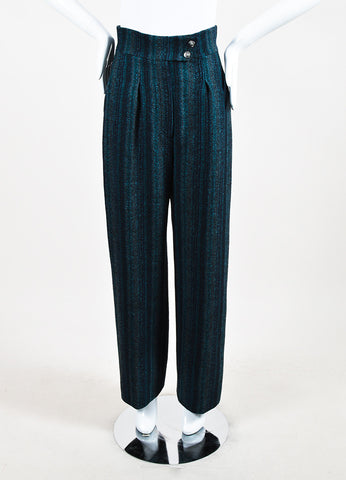 Chanel Navy Blue and Teal Wool Wide Leg Pants Frontview