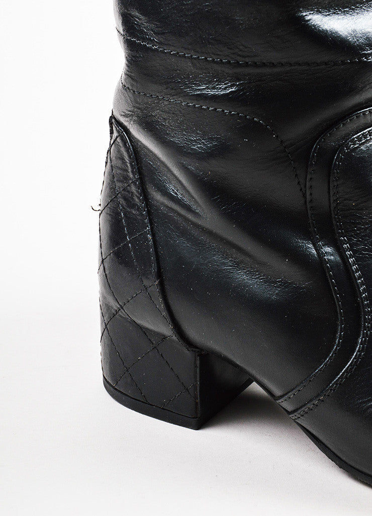 Chanel Black Leather Quilted Heel Zipped Knee High Riding Boots Detail