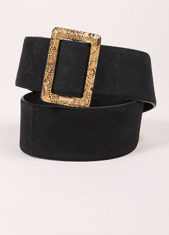 Chanel Black and Metallic Gold Suede Moscow Collection Belt Frontview